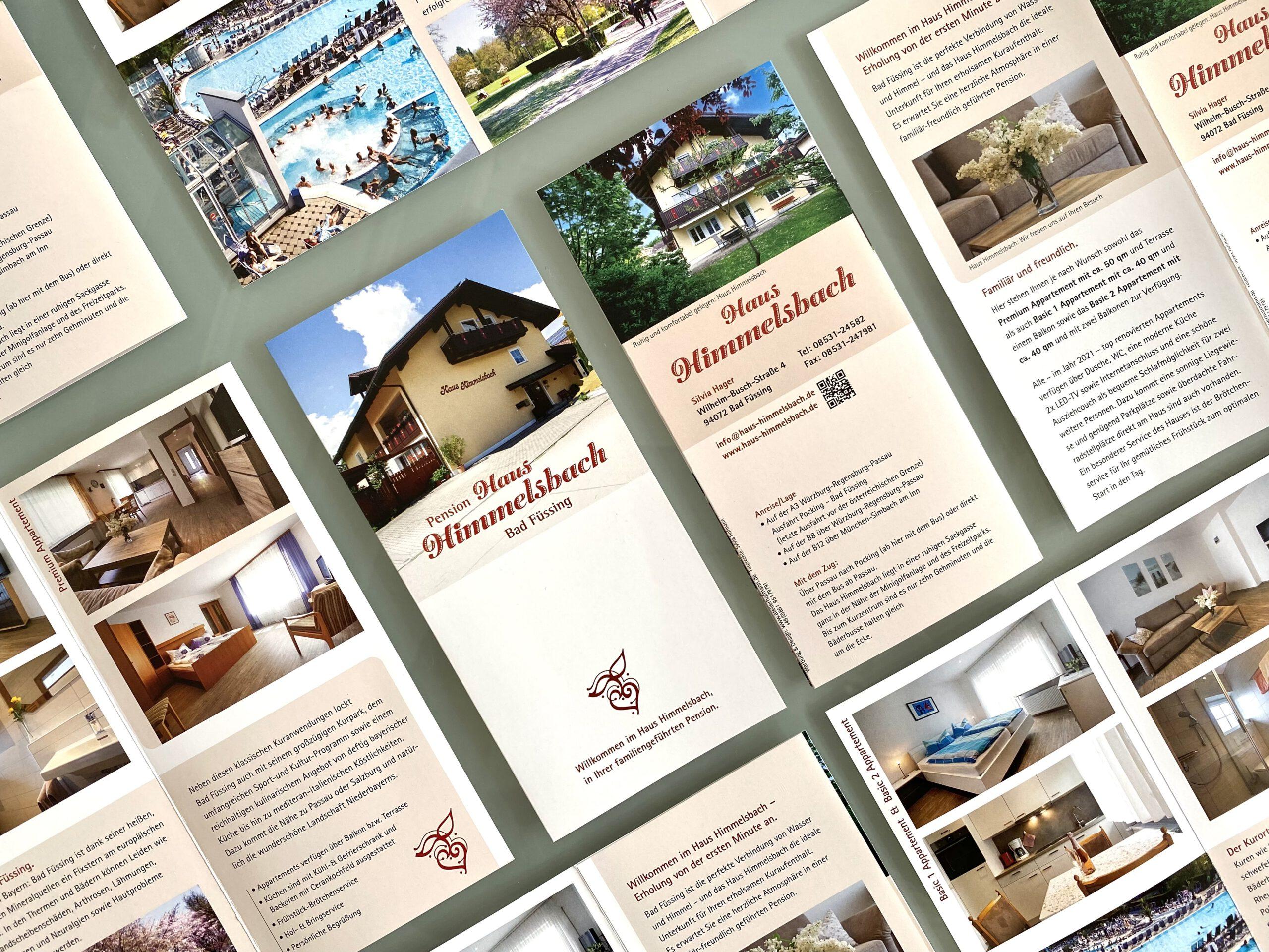 Die neuen Flyer und die Visitenkarten für Pension Haus Himmelsbach